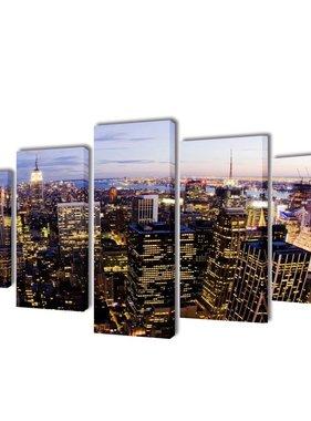 vidaXL Canvasdoeken New York in vogelperspectief 200 x 100 cm