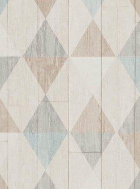 DUTCH WALLCOVERINGS Behang hout/ruit beige 42505-30