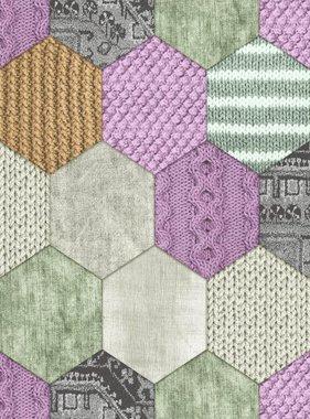 DUTCH WALLCOVERINGS Behang patchwork groen en lila 7360-6
