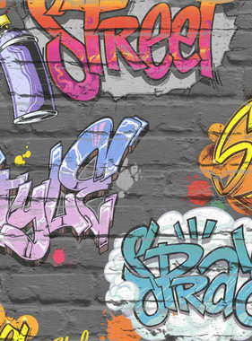 DUTCH WALLCOVERINGS Behang graffiti meerkleurig L179-01