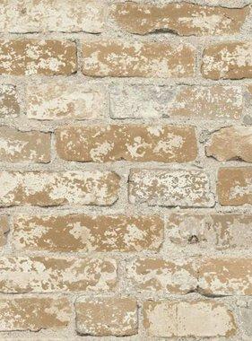 RoomMates Plakbehang gepleisterd baksteen bruin RMK9037WP
