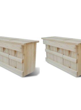 vidaXL Mussenhuizen 2 st 44x15,5x21,5 cm hout