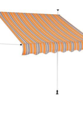 vidaXL Luifel handmatig uitschuifbaar 150 cm geel en blauwe strepen