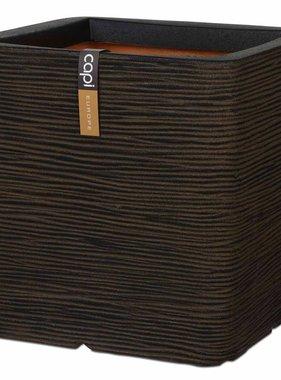 Capi Plantenbak Nature Rib vierkant 40x40 cm bruin PKOFB903