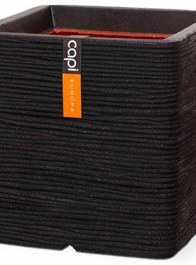 Capi Plantenbak Nature Rib vierkant 40x40 cm zwart PKBLR903
