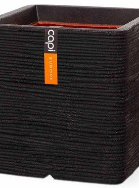 Capi Plantenbak Nature Rib vierkant 30x30 cm zwart PKBLR902
