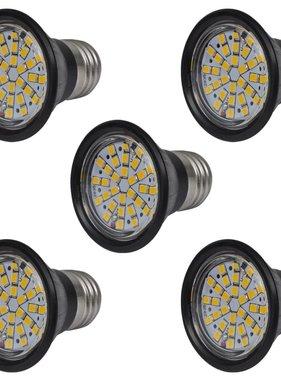 vidaXL LED spots zwart 3W E27 warm wit (5 stuks)