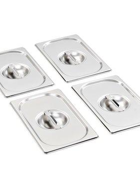 vidaXL Schaaldeksels 4 st GN 1/4 265x162 mm roestvrij staal