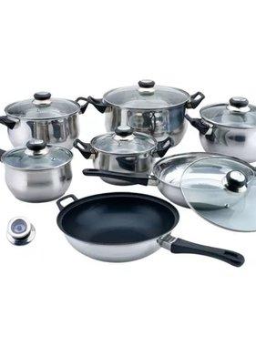vidaXL Pannenset rvs 14-delig met wok