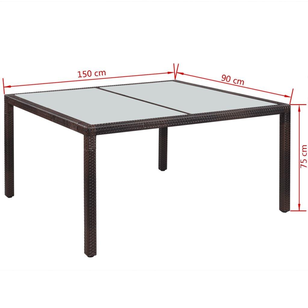 vidaXL Tuintafel 150x90x75 cm poly rattan bruin