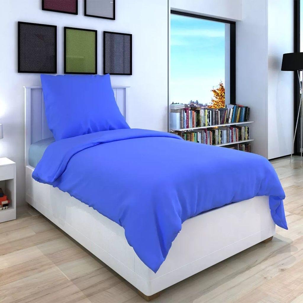 vidaXL Dekbedovertrek tweedelig katoen blauw 135 x 200/60 x 70 cm