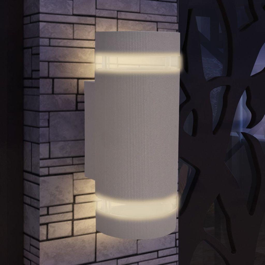 vidaXL Wandlamp buiten boven en onder licht halfrond grijs aluminium