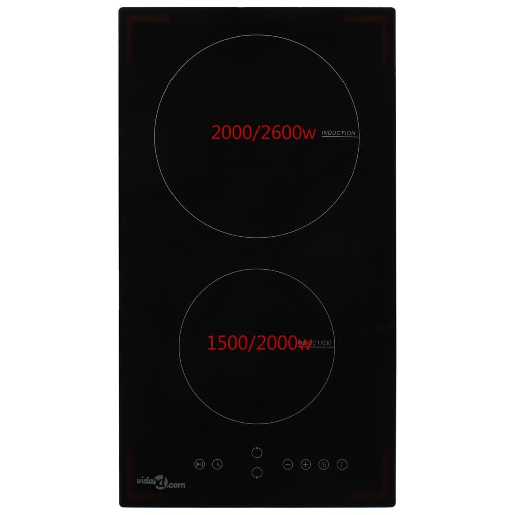 vidaXL Inductiekookplaat met 2 kookzones aanraakbediening 3500 W glas
