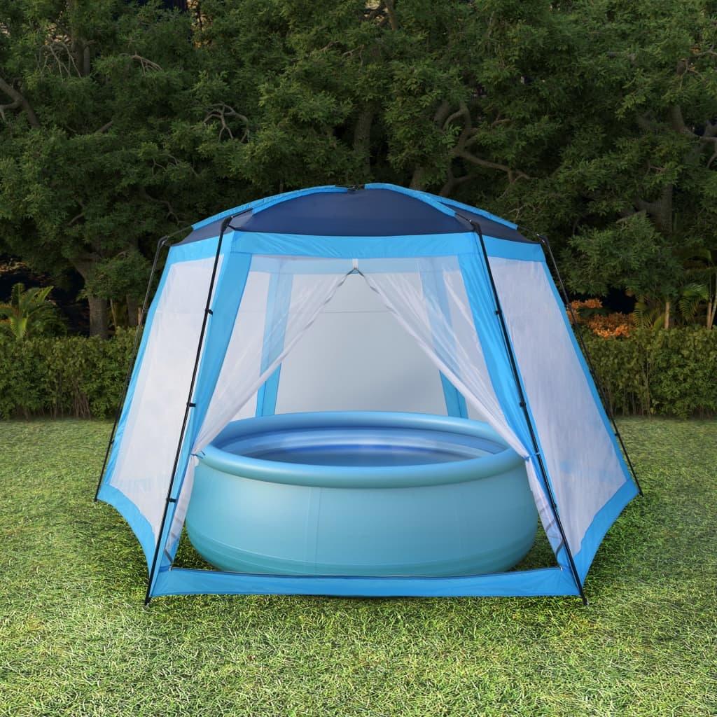 vidaXL Zwembadtent 590x520x250 cm stof blauw