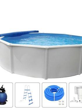 KWAD Zwembadset rond Steely Deluxe 5,5x1,2 m