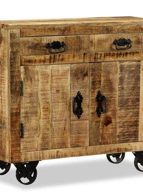 vidaXL Dressoir met 2 lades en 1 vak ruw mangohout