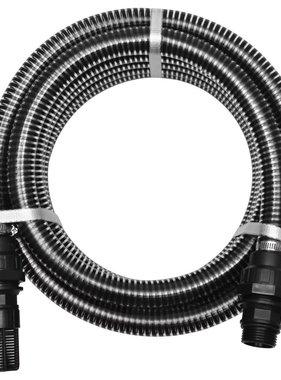 vidaXL Zuigslang met koppelingen 10 m 22 mm zwart
