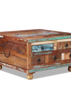 vidaXL Salontafel gerecycled hout 70x70x38 cm