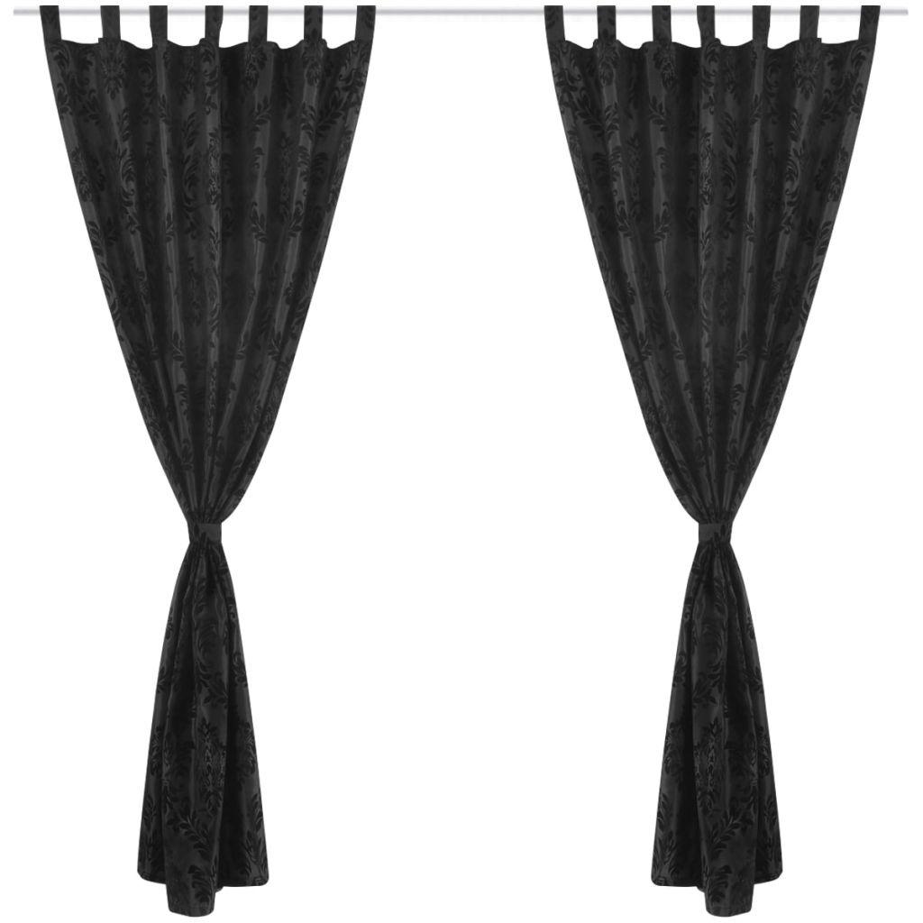 vidaXL 2 Barok Taffeta Tab Top Gordijnen 140 x 225 cm Zwart