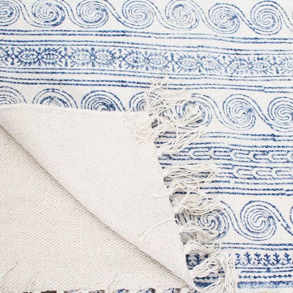 vidaXL Katoenen vloerkleed 180x270 cm blauw