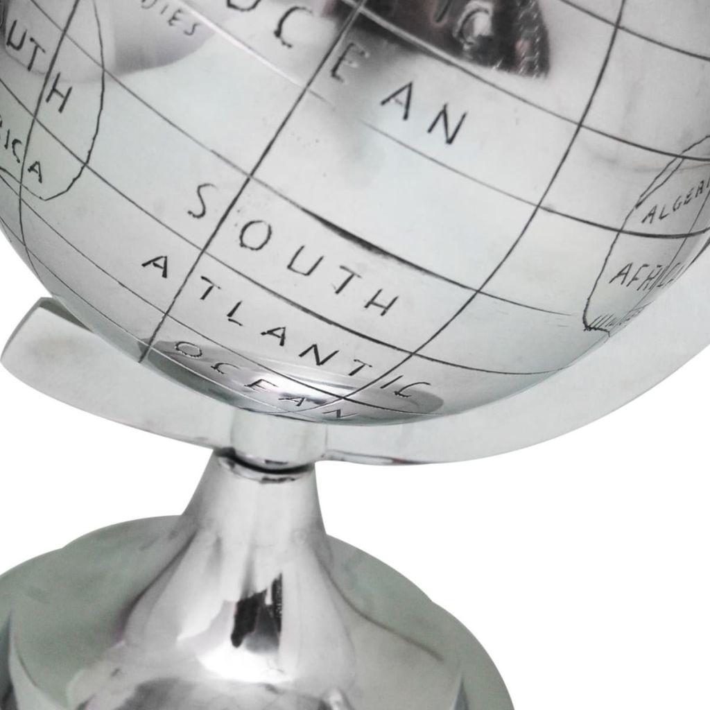 vidaXL Wereldbol met voet aluminium zilverkleurig 35 cm