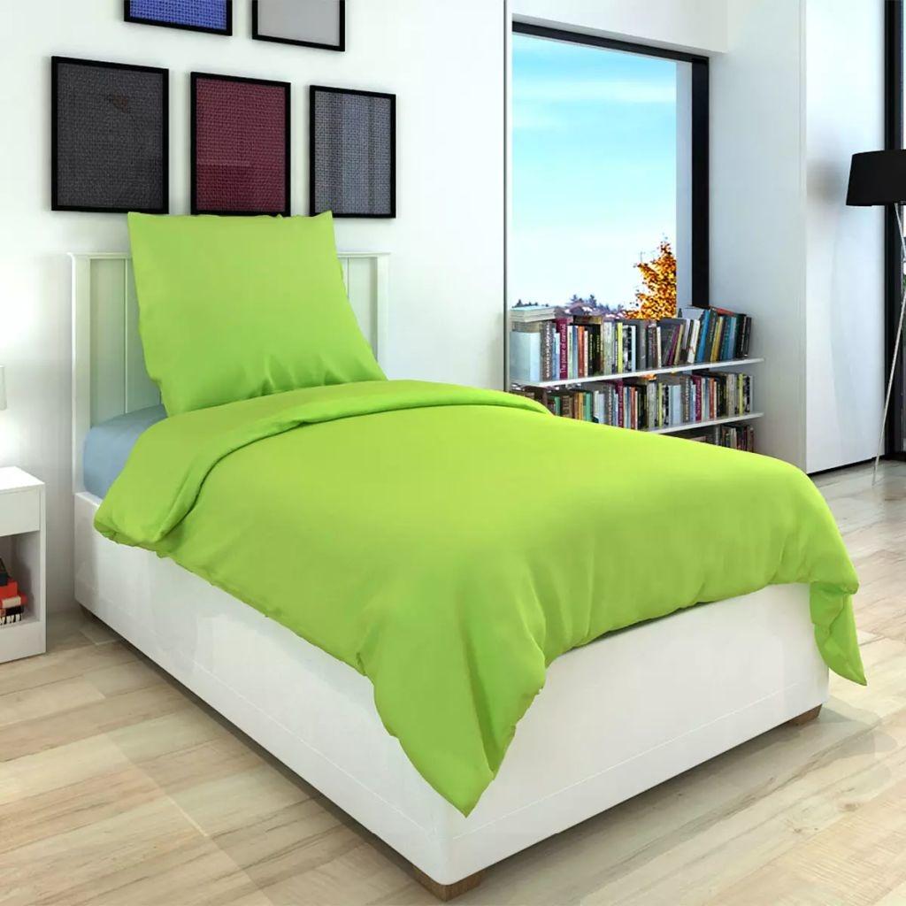 vidaXL Dekbedovertrek tweedelig katoen groen 155 x 220/80 x 80 cm