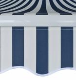 vidaXL Luifel handmatig uitschuifbaar 450 cm blauw en wit