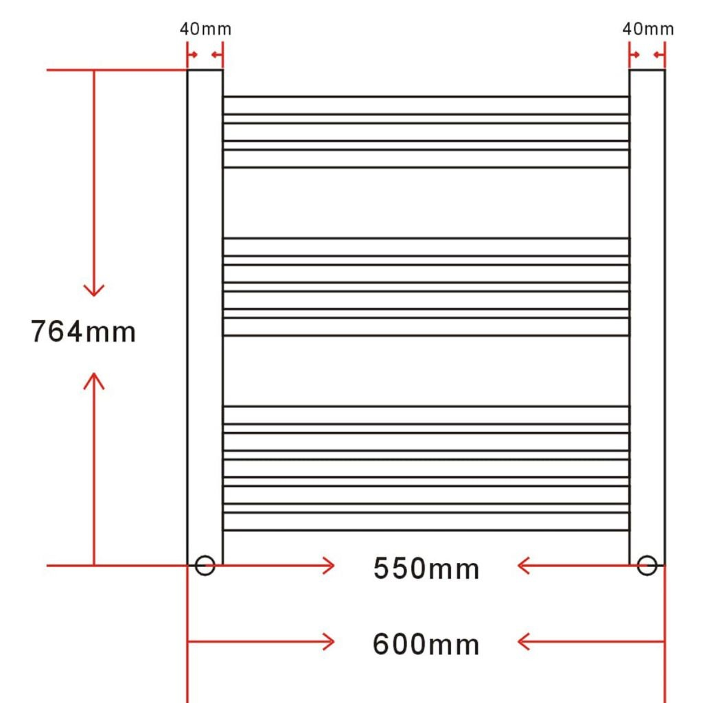 vidaXL Badkamer radiator/handdoekenrek gebogen 600x764 mm 300 W