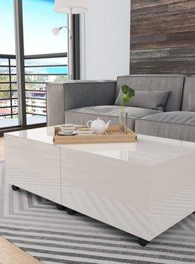 vidaXL Salontafel 120x60x35 cm hoogglans wit