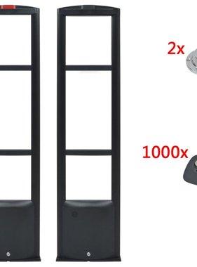 vidaXL RF Antennesysteem met beveiligingslabels en ontkoppelaars zwart