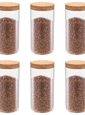 vidaXL Opbergpotten met kurken deksel 6 st 1400 ml glas