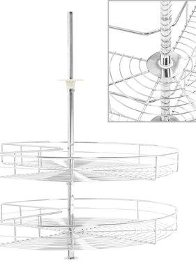 vidaXL Draadmand keuken 2-laags 270 graden 71x71x80 cm zilverkleurig