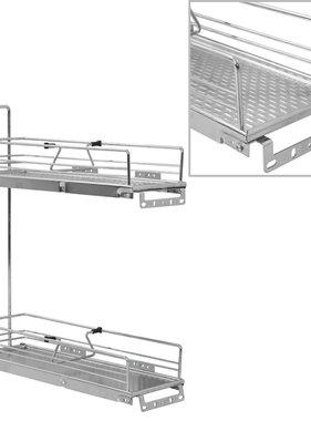 vidaXL Draadmand keuken uittrekbaar 2-laags 47x15x54,5cm zilverkleurig