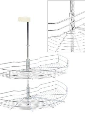 vidaXL Draadmand keuken 2-laags 180 graden 75x38x80 cm zilverkleurig