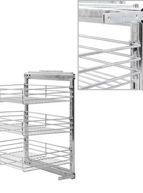 vidaXL Draadmand keuken uittrekbaar 3-laags 47x35x56 cm zilverkleurig