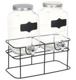 vidaXL Drankdispensers 2 st met standaard 2 x 4 L glas