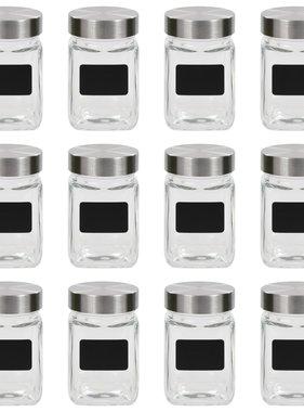 vidaXL Opbergpotten met stickers 12 st 300 ml