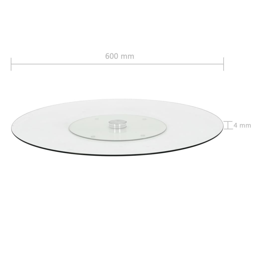 vidaXL Serveerbord draaiend 60 cm gehard glas transparant