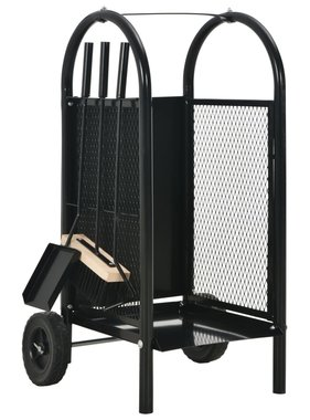 vidaXL Brandhoutkar 30x35x81 cm staal zwart