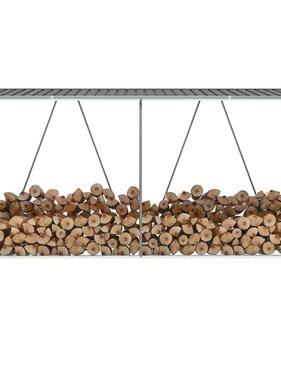 vidaXL Haardhoutschuur 330x84x152 cm gegalvaniseerd staal grijs