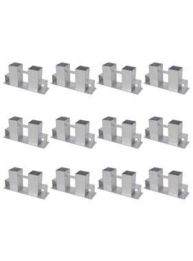 vidaXL Brandhout stapelhulpen 12 st staal zilverkleurig