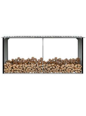 vidaXL Haardhoutschuur 330x92x153 cm gegalvaniseerd staal antraciet