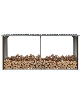 vidaXL Haardhoutschuur 330x92x153 cm gegalvaniseerd staal bruin