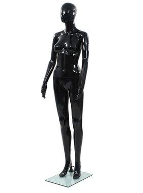 vidaXL Etalagepop vrouwelijk met glazen voet 175 cm glanzend zwart