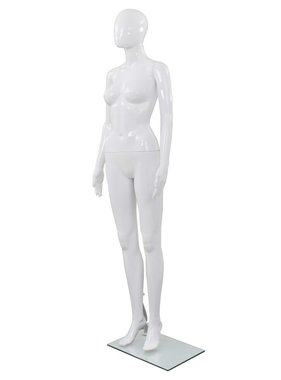vidaXL Etalagepop vrouwelijk met glazen voet 175 cm glanzend wit