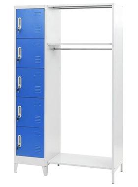 vidaXL Lockerkast met kapstok 110x45x180 cm metaal blauw en grijs