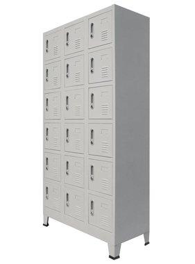 vidaXL Lockerkast met 18 vakken 90x40x180 cm metaal