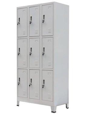 vidaXL Lockerkast met 9 vakken staal 90x45x180 cm grijs