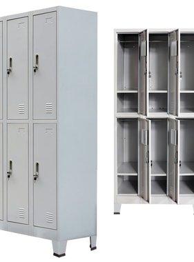 vidaXL Lockerkast met 6 vakken 90x45x180 cm staal grijs