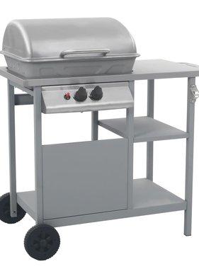 vidaXL Gasbarbecue met 3-laags zijtafel zwart en zilverkleurig